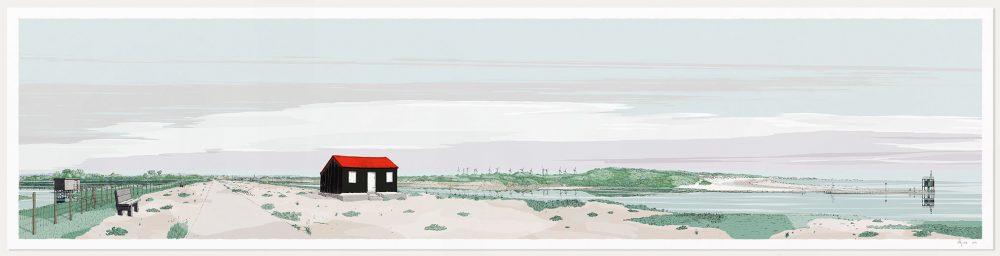 Art print named Red Roofed Hut Rye Harbour Camber Sands Pebble Beach by artist alej ez