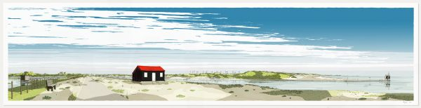 Print named Red Roofed Hut Rye Harbour Camber Sands by artist alej ez