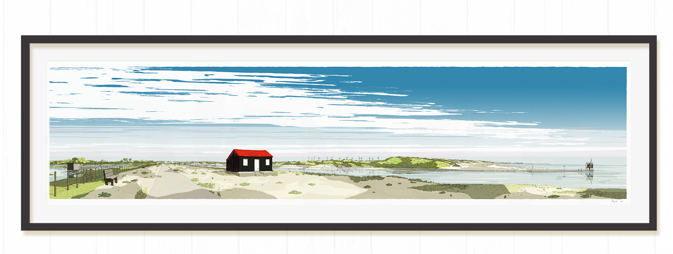 Red Roofed Hut framed print