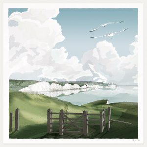 print named Seven Sisters from Seaford to Beachy Head by artist alej ez