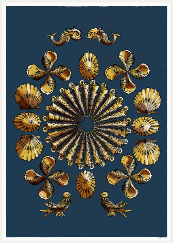 art print named Shell Grotto Blue and Gold by artist alej ez