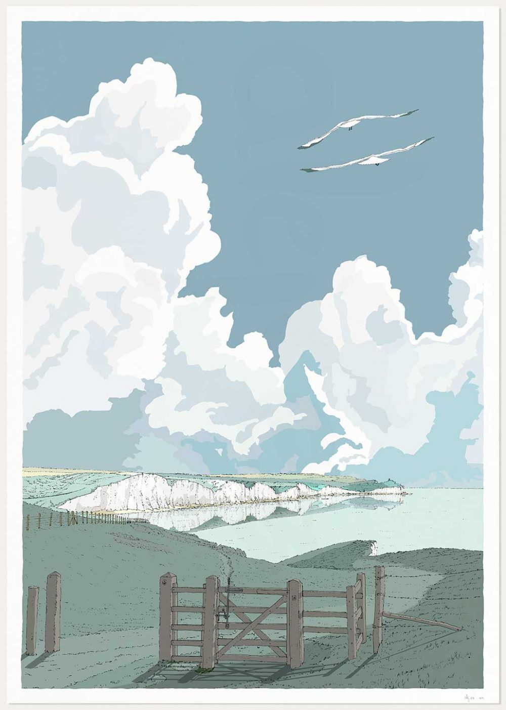 Print named Seven Sisters Cliffs from Seaford to Beachy Head Sussex Mint by artist alej ez