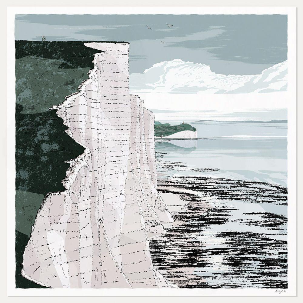 Art print titled Seven Sisters Cliffs Walk Brass Point by artist alej ez