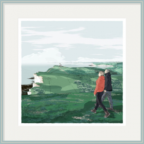 Portrait in the Landscape Commission. South Downs Way, Belle Tout Lighthouse Beachy Head. Lucy and Dan by artist alej ez