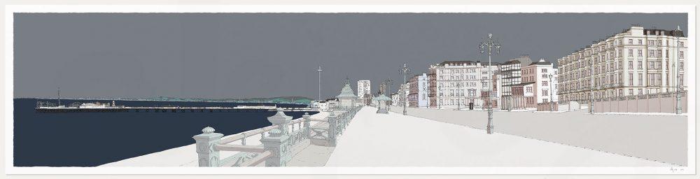 art print titled Kemptown Brighton Promenade Silver by artist alej ez