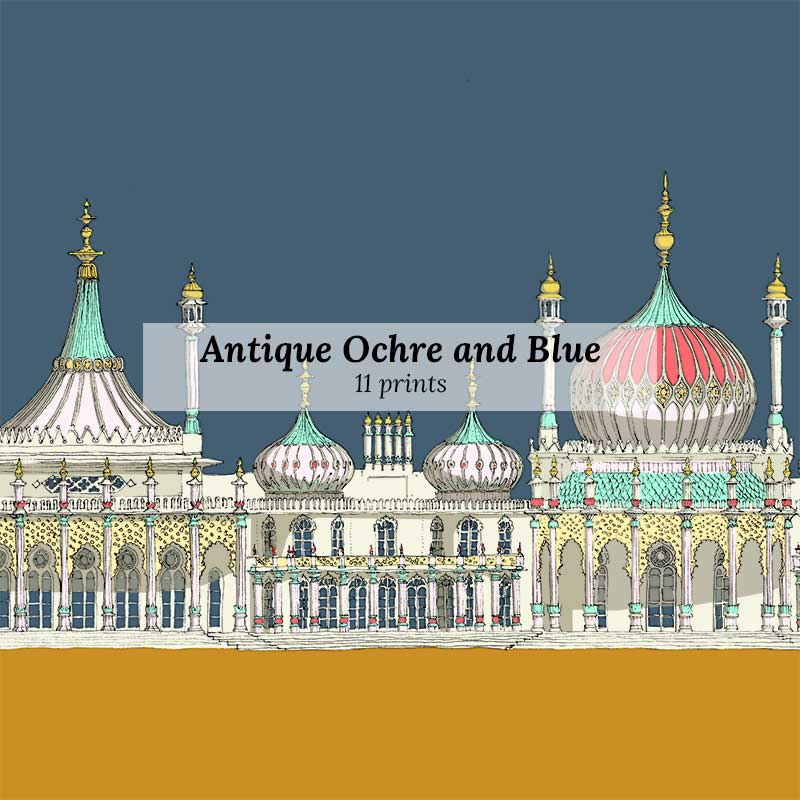 Antique Ochre and Blue - Art Prints by Colour by artist alej ez
