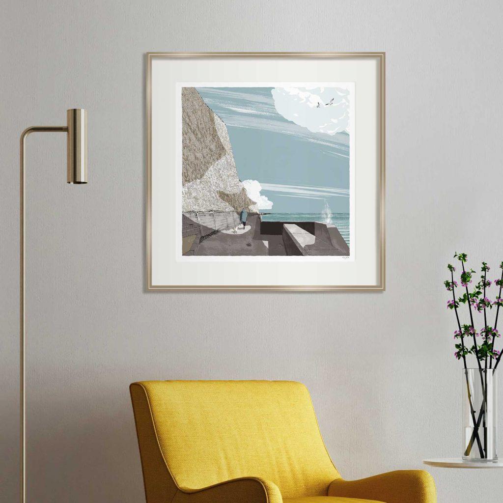 interior with framed art print titled Brighton Undercliff Walk by artist alej ez