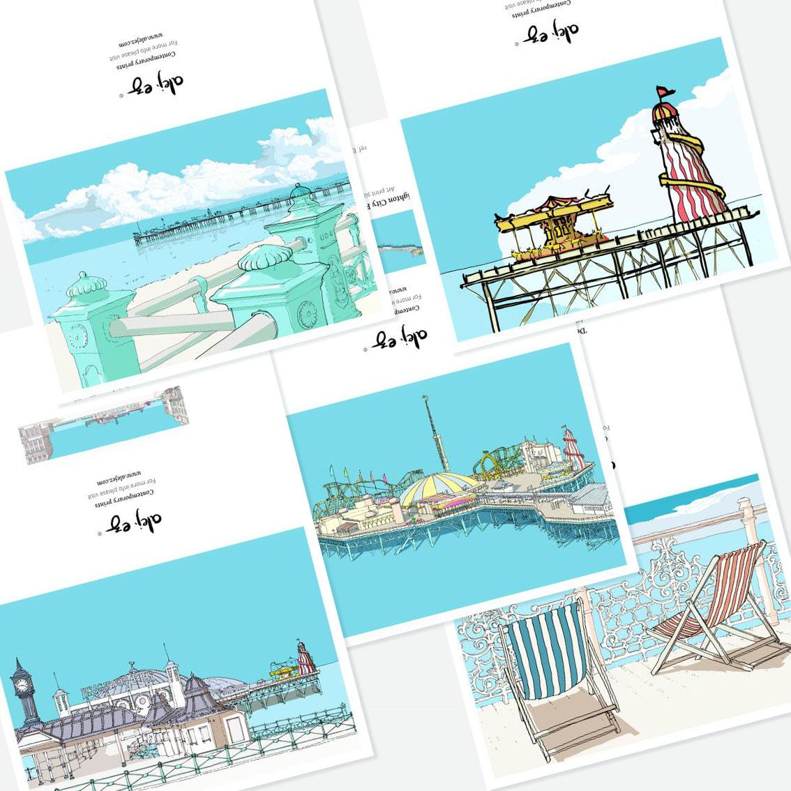 Brighton Pier. 5 greeting cards set