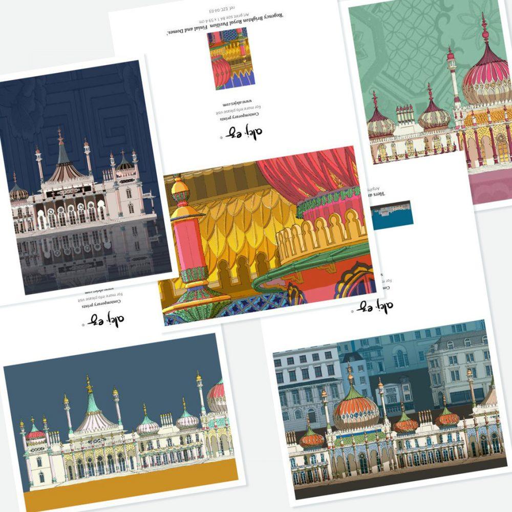 Brighton Royal Pavilion. 5 greeting cards set