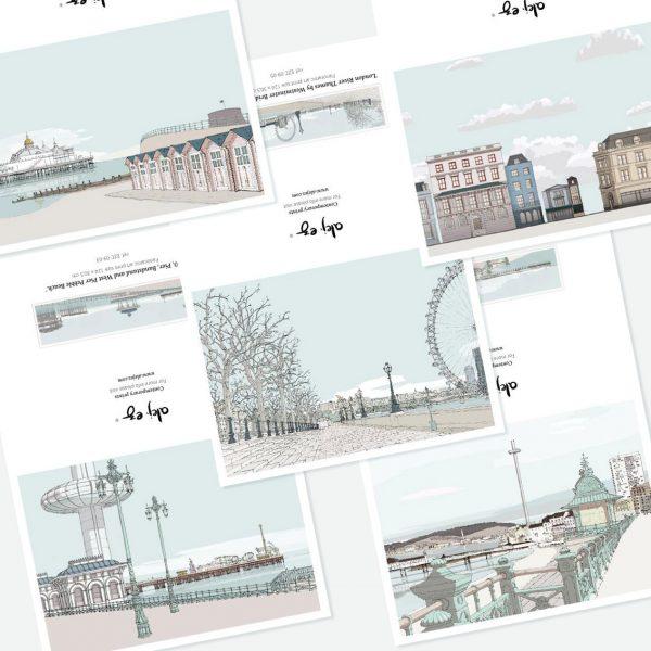 Promenade. 5 greeting cards set