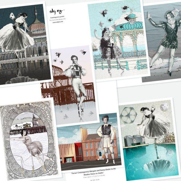 Classic Dancers. 7 greeting cards set