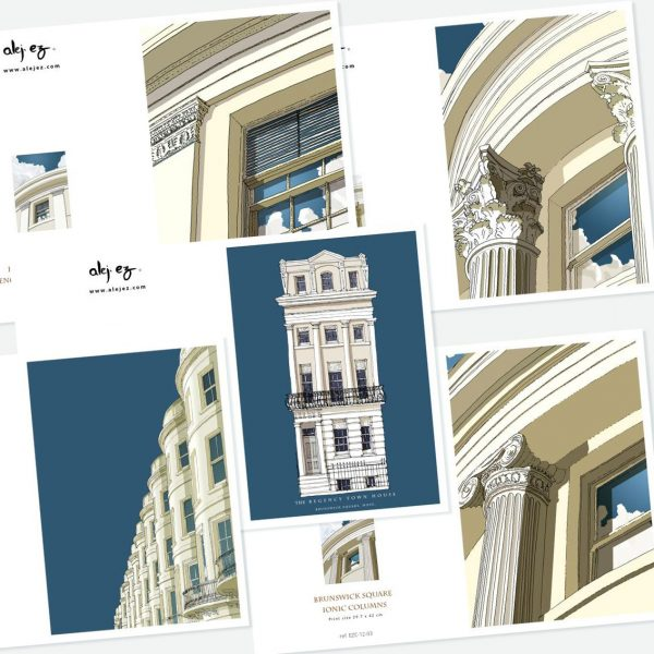 Brunswick Square Hove. 5 greeting cards set