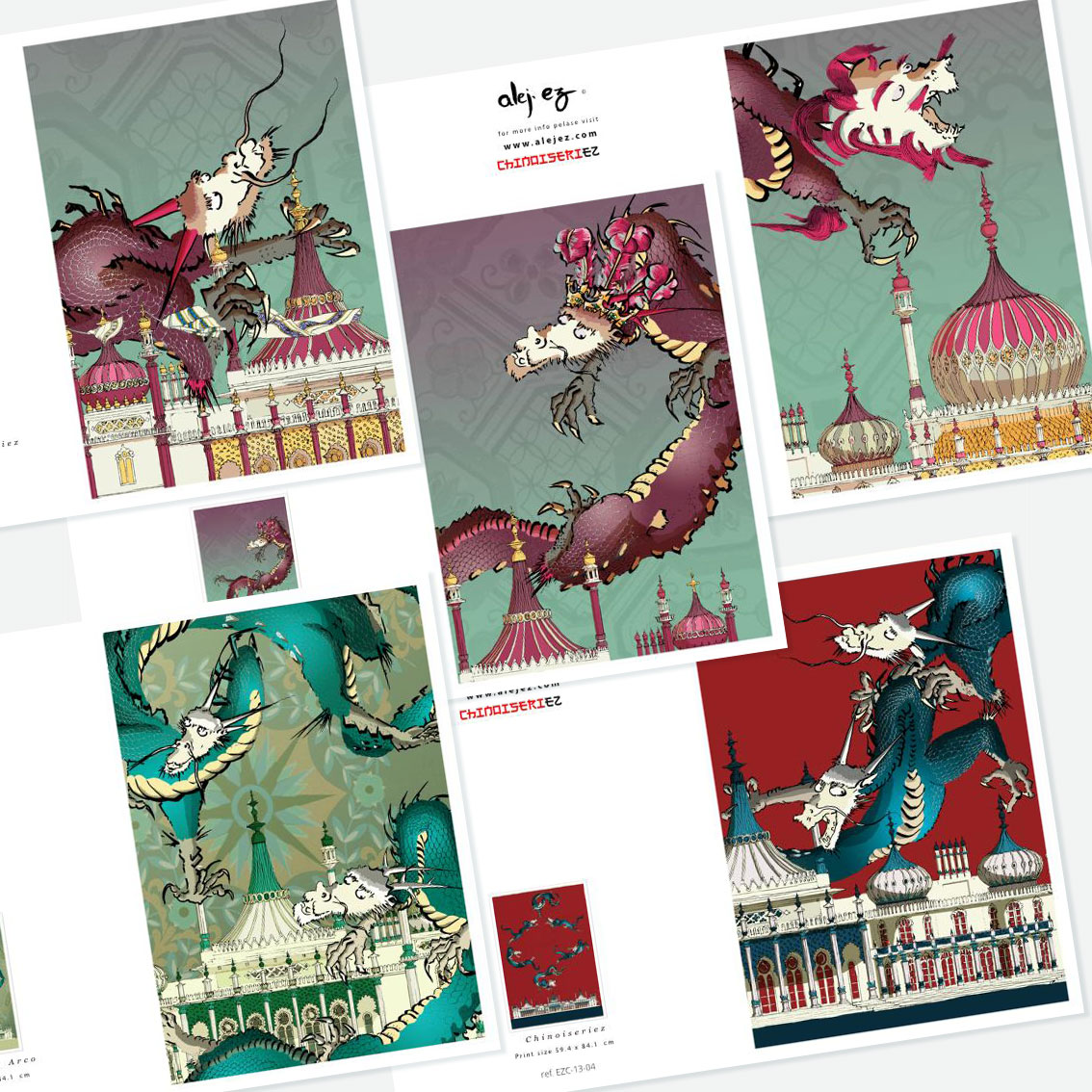 Chinoiseriez Dragons. 5 greeting cards set