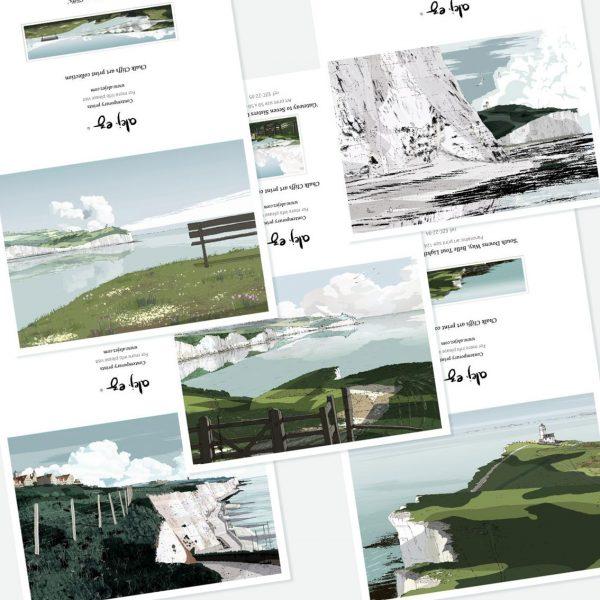 Chalk Cliffs. 5 greeting cards set