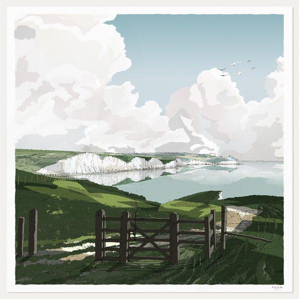 Art print titled Gateway to Seven Sisters Chalk Cliffs by artist alej ez