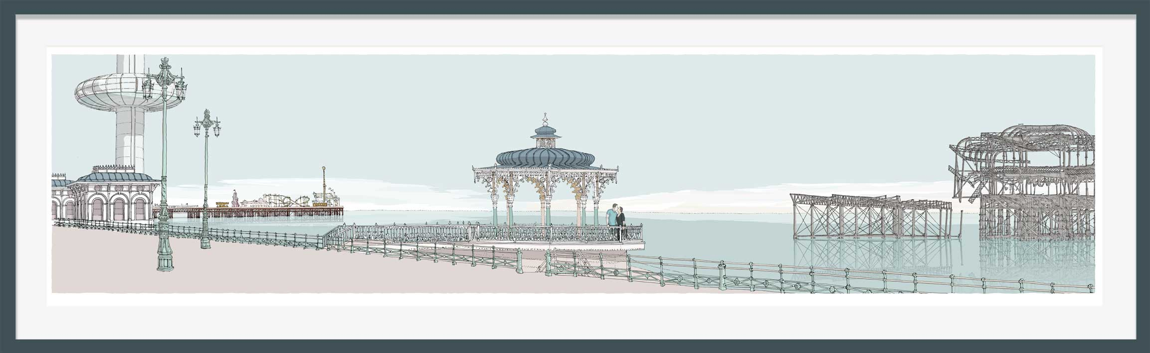 Ii360 Palace Pier Bandstand and West Pier Pebble Beach. Kate and Steve