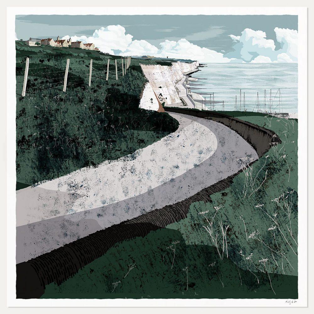 art print titled Roedean School Brighton Chalk Cliffs by artist alej ez