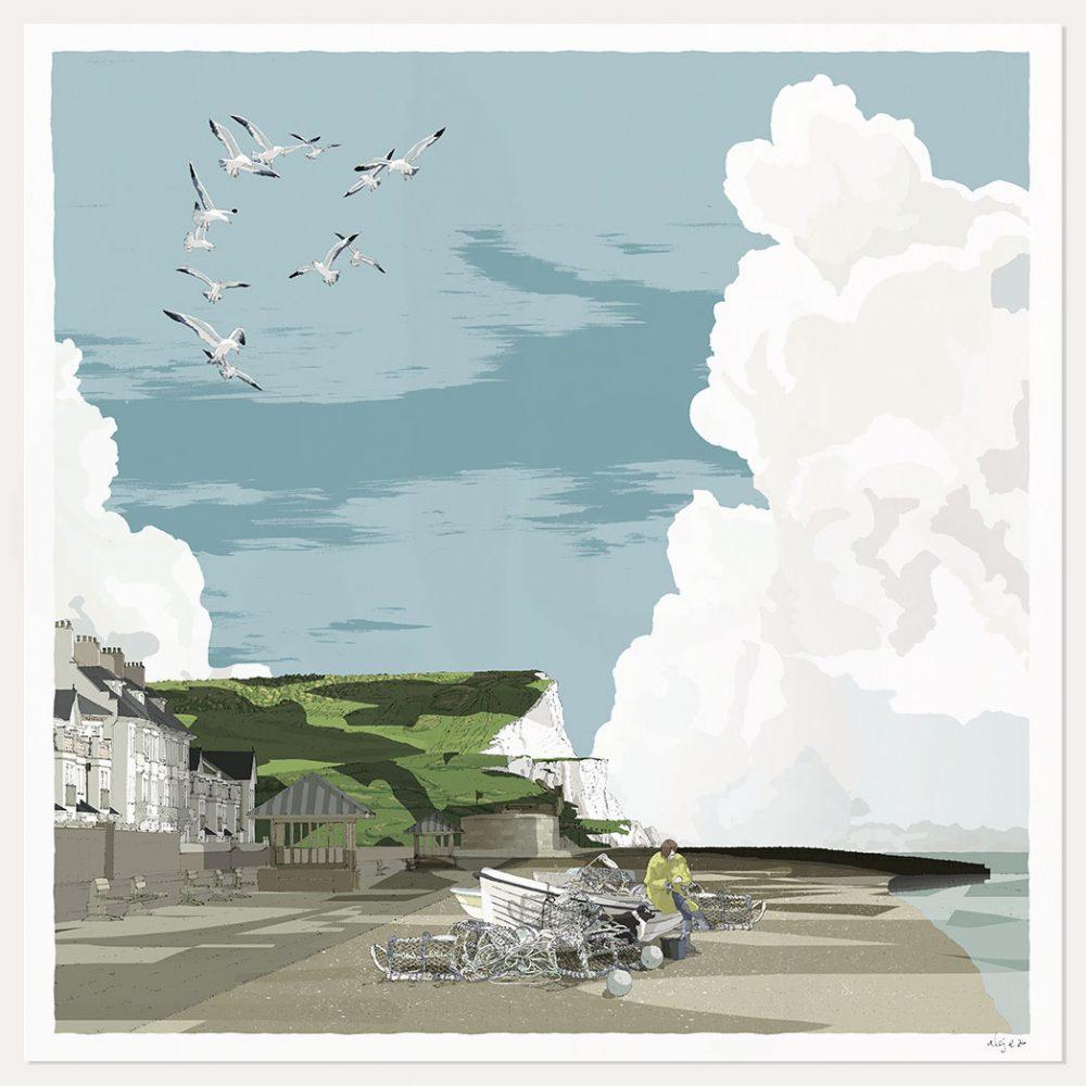 art print named Seaford Head the Promenade and Fishing Boats by artist alej ez