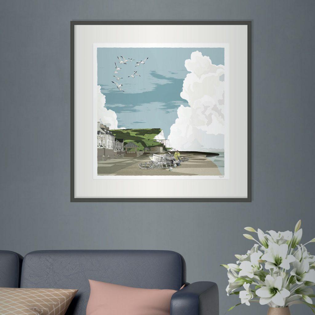interior with framed art print named Seaford Head the Promenade and Fishing Boats by artist alej ez