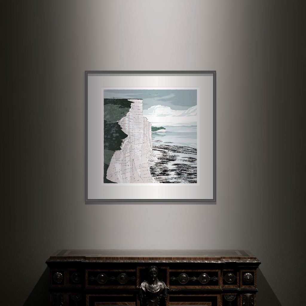 Interior with Art print titled Seven Sisters Cliffs Walk Brass Point by artist alej ez