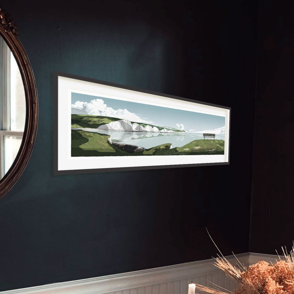 Interior with panoramic art print titled Seven Sisters Cliffs by artist alej ez