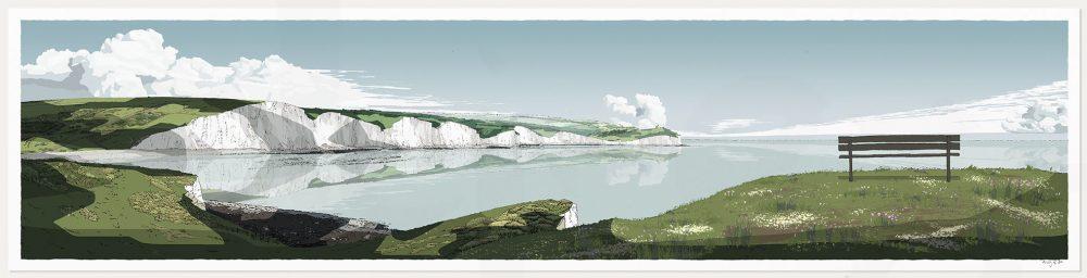 art print titled Seven Sisters Cliffs by artist alej ez