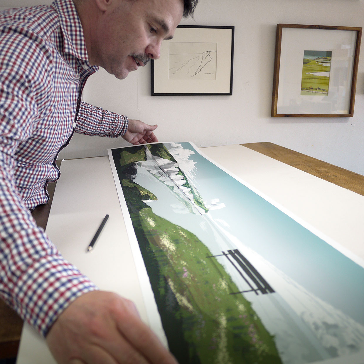 inspection at studio of art print titled Seven Sisters cliffs