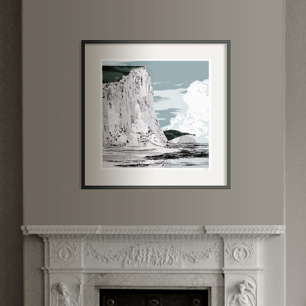 Interior with Print titled Seven Sisters Walk Cuckmere Haven by artist alej ez