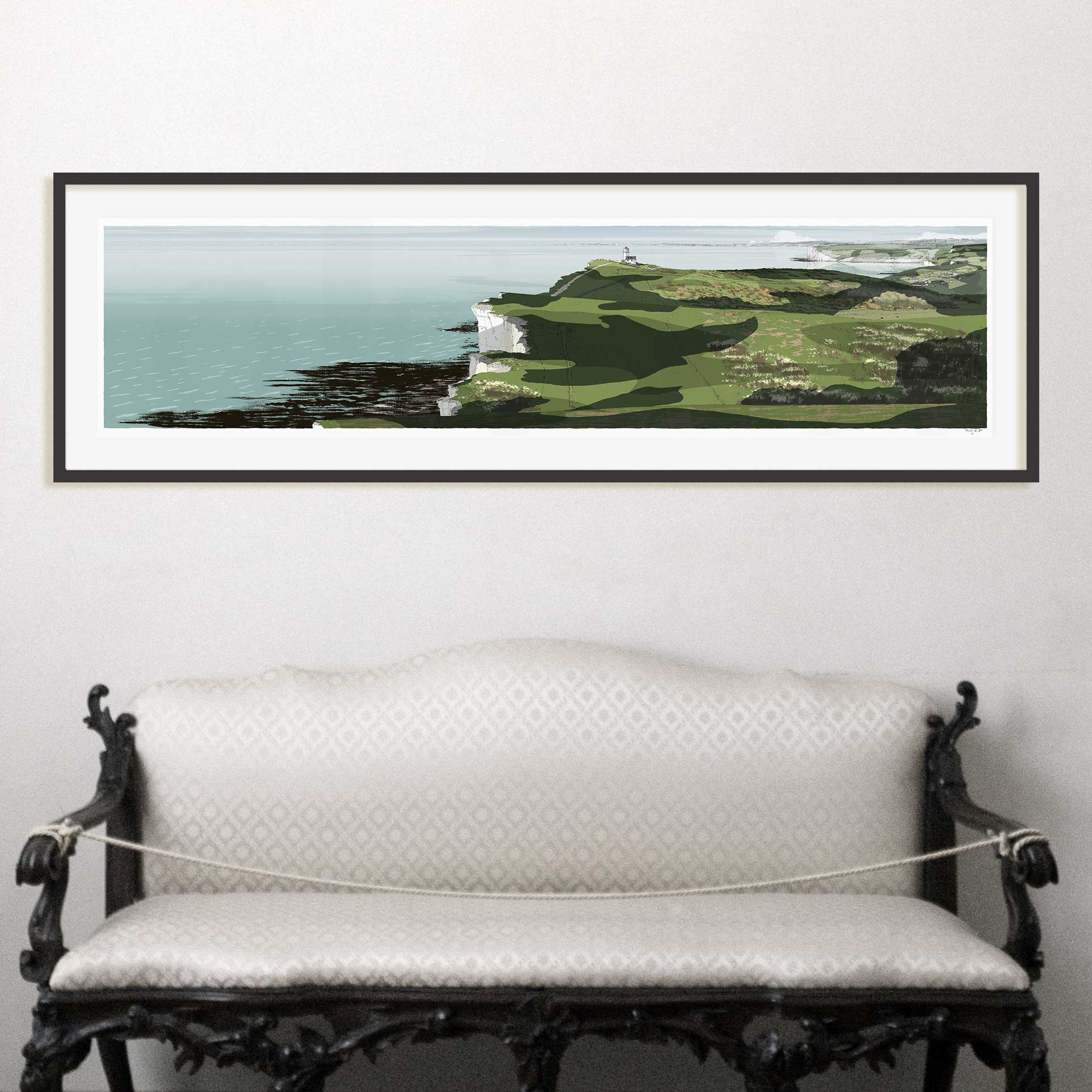 Interior with Print titled South Downs Way Belle Tout Lighthouse Beachy Head by artist alej ez