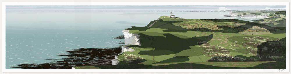 art print titled South Downs Way Belle Tout Lighthouse Beachy Head by artist alej ez