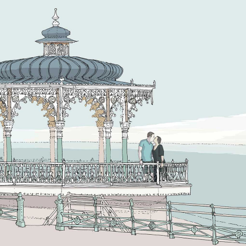 Ii360 Palace Pier Bandstand and West Pier Pebble Beach. Kate and Steve. Detail