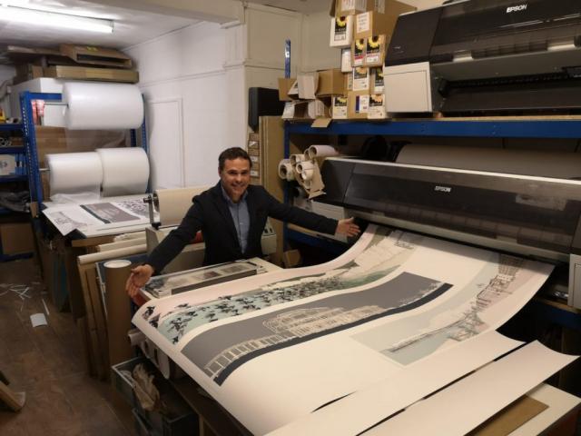 At the printers. Bespoke larger print by artist alej ez