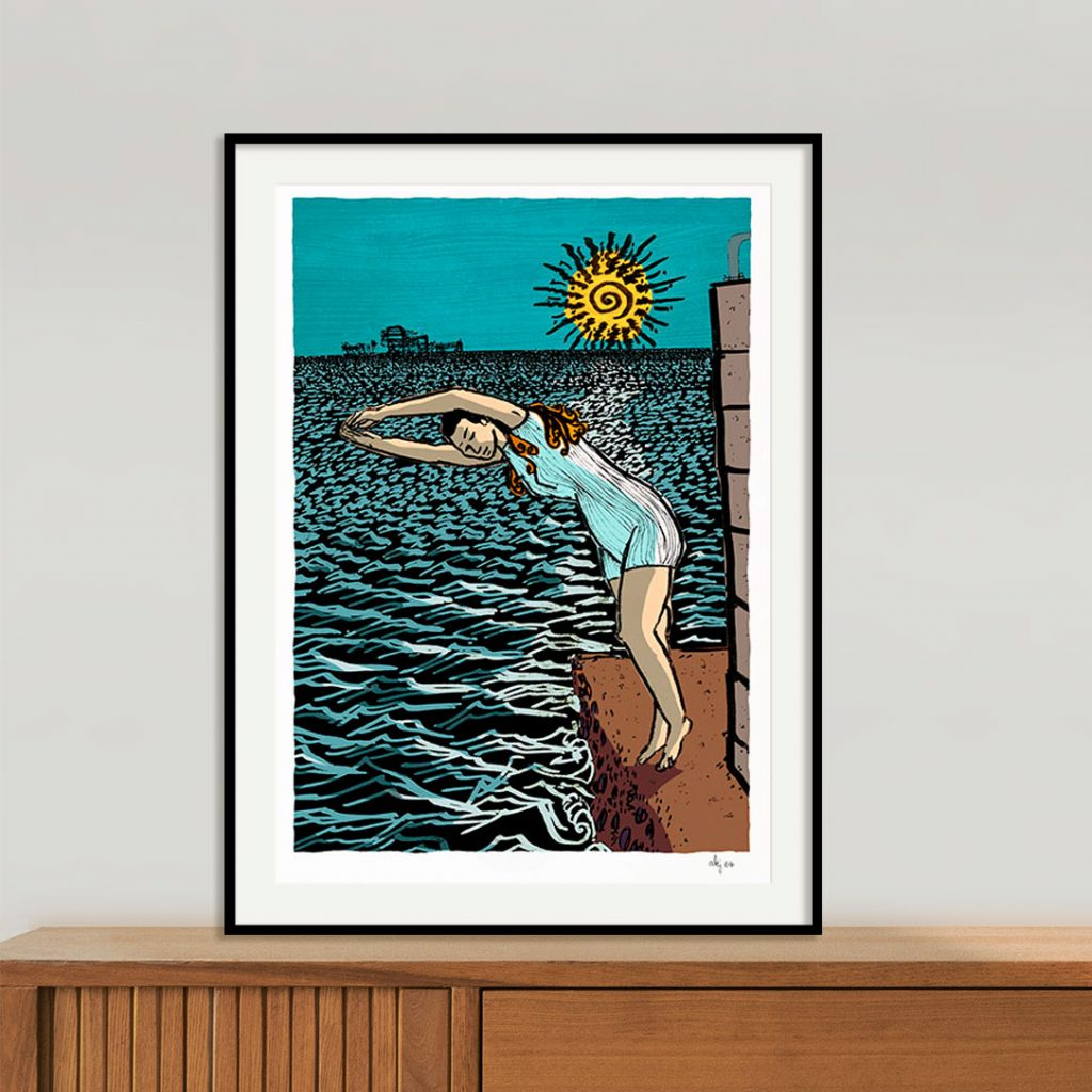Art print titled Diving into the Sea by artist Alej ez framed