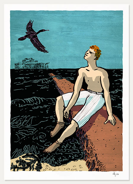 Print titled The Bather and the Cormorant by artist alej ez