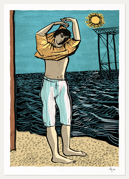 Art print titled The Bather by the West Pier by artist alej ez