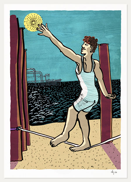 Art print titled The Tight-rope Walker and the Sea by artist alej ez