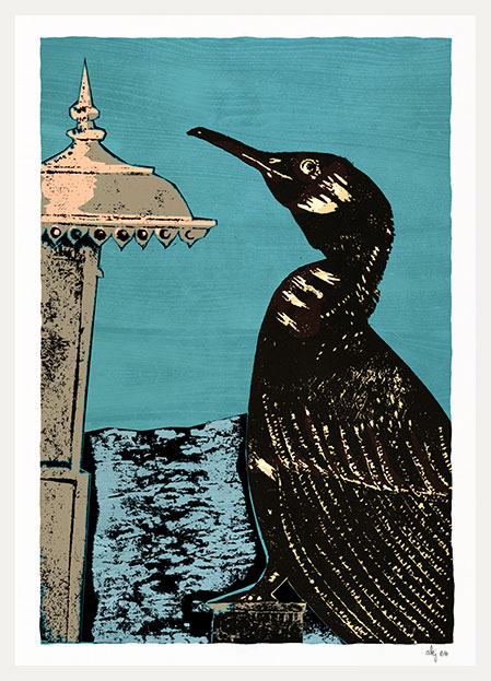 Art print titled The Cormorant and the West Pier by artist alej ez