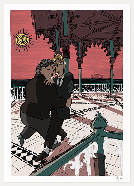 art print titled A dance at the Bandstand by artist alej ez