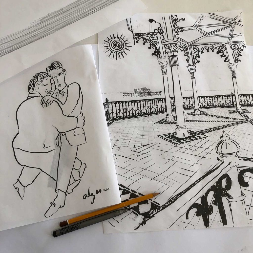 A dance at the Bandstand base art print drawings