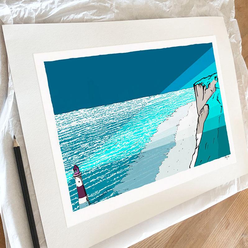 Fine art print by artist alej ez titled Beachy Head Lighthouse Blue Night