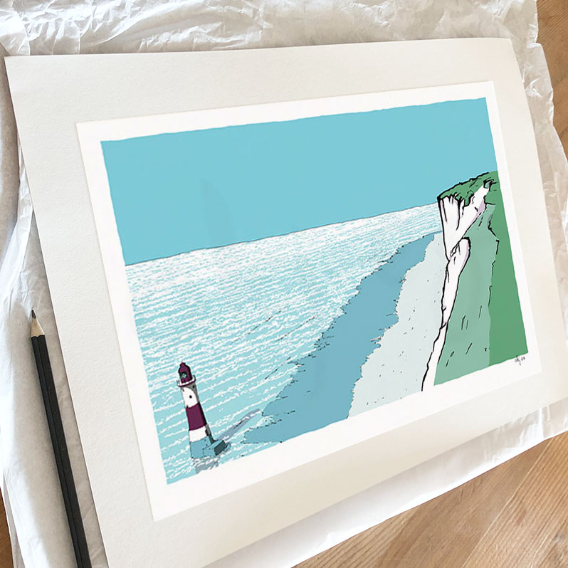 Fine art print by artist alej ez titled Beachy Head Lighthouse Chalk Cliffs