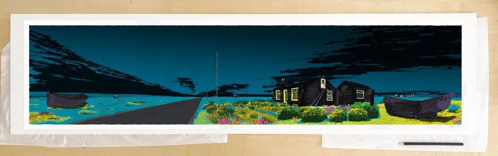 Fine art print by artist alej ez titled Derek Jarman Blue Night Dungeness Prospect Cottage
