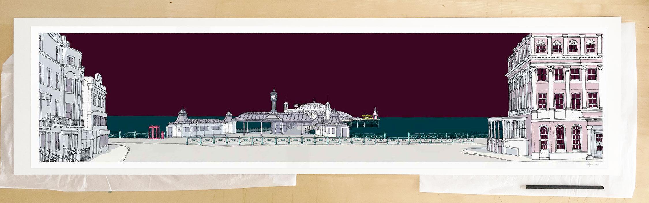 Fine art print by UK artist alej ez titled Brighton City Pier Mauve Sky