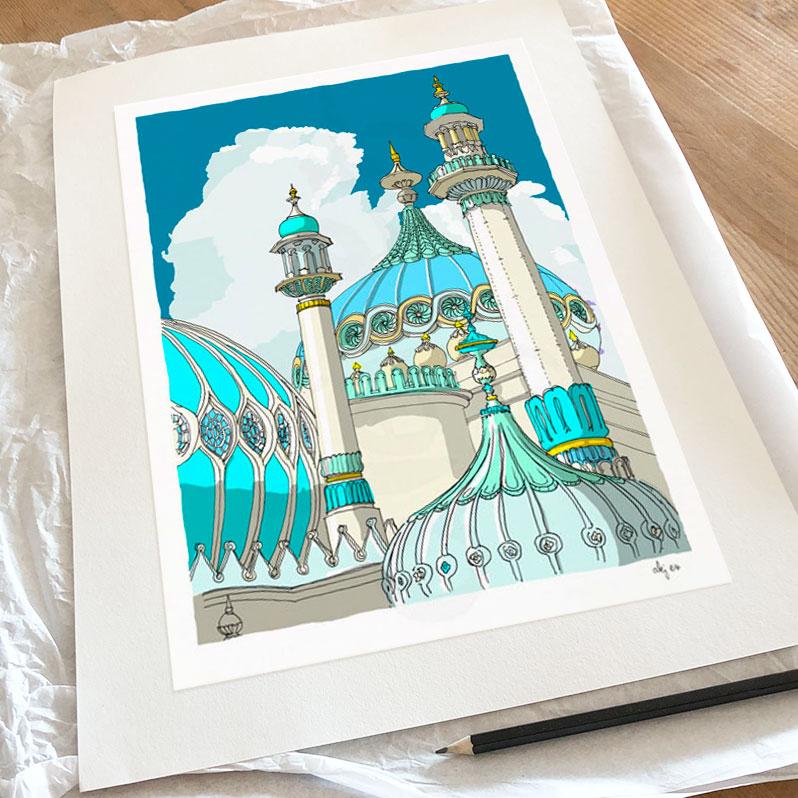Fine art print by artist alej ez titled Brighton Pavilion Domes and Turrets Ocean Blue