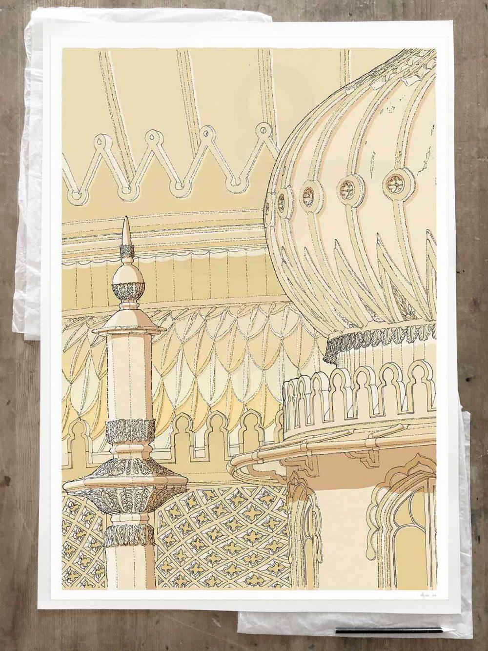 Fine art print by artist alej ez titled Brighton Pavilion Finial and Domes Pearl