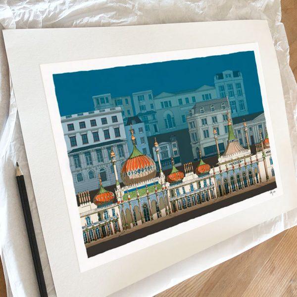 Fine art print by artist alej ez titled Brighton Pavilion Steine Gardens Scene Ocean Blue