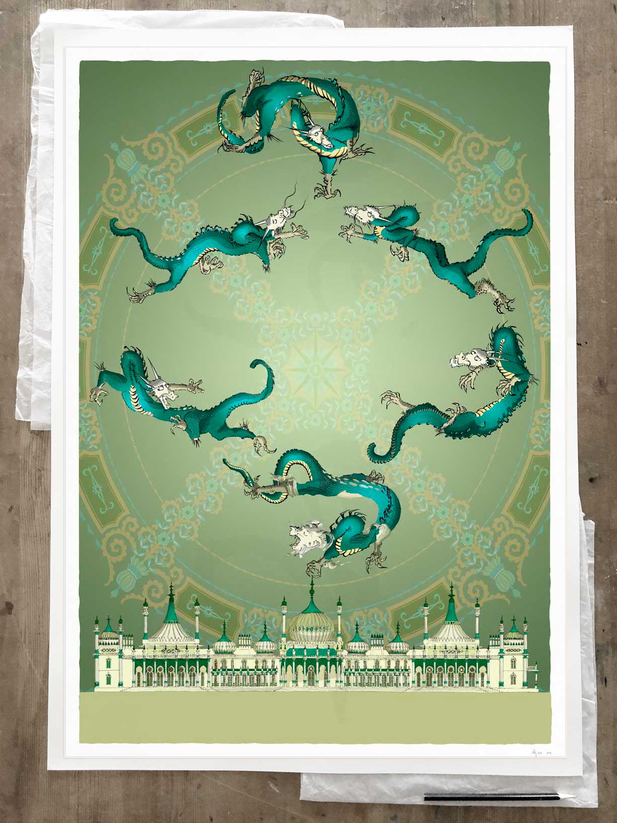 Fine art print by artist alej ez titled Brighton Royal Pavilion Chinoiseriez Arco