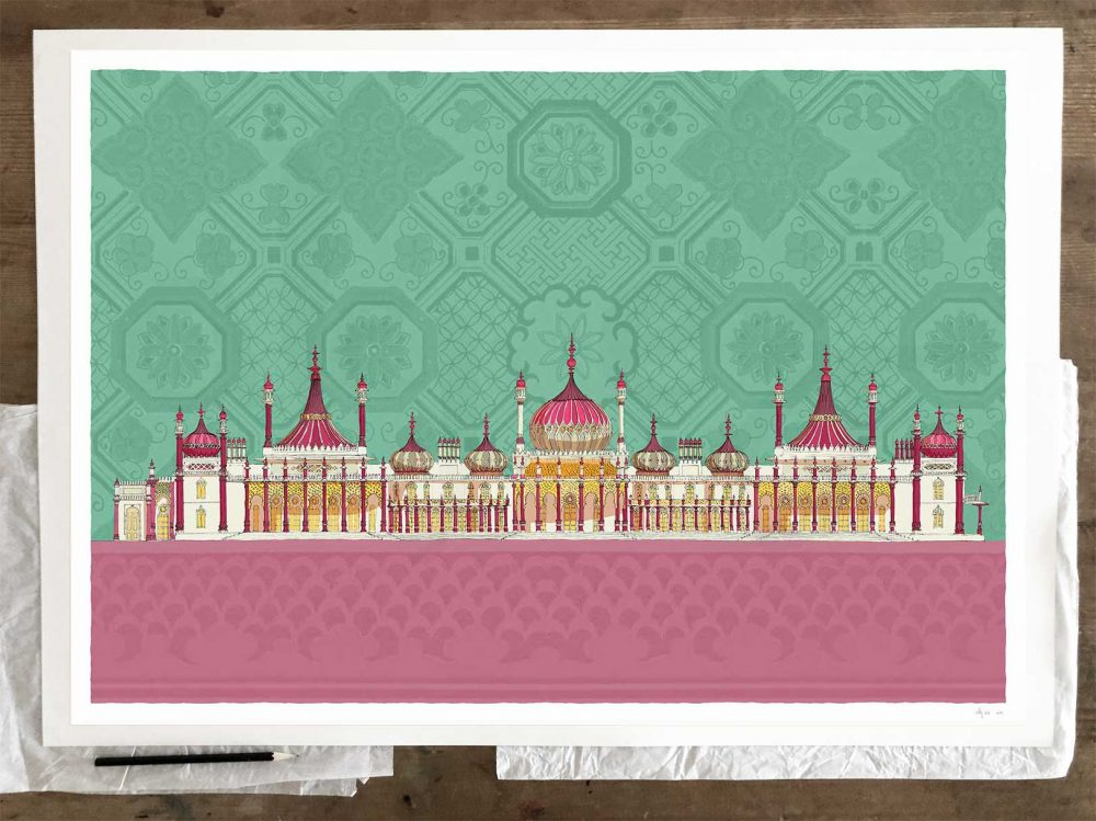 Fine art print by artist alej ez titled Brighton Royal Pavilion Life