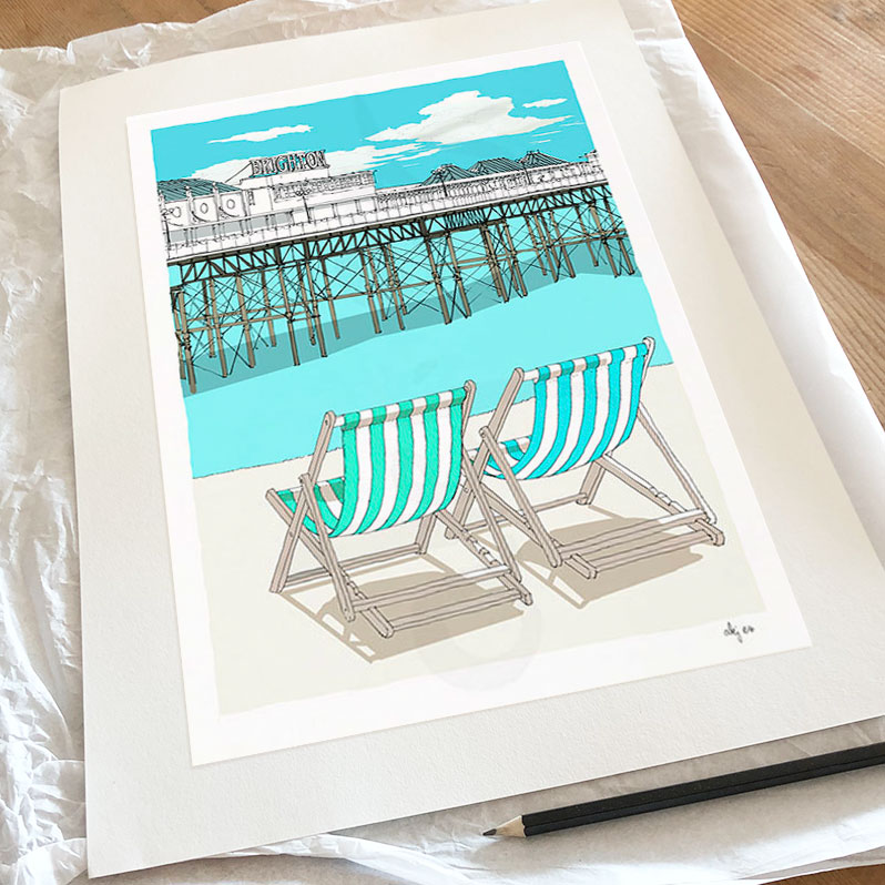 Fine art print by artist alej ez titled Brighton Beach Pier and Deck Chairs