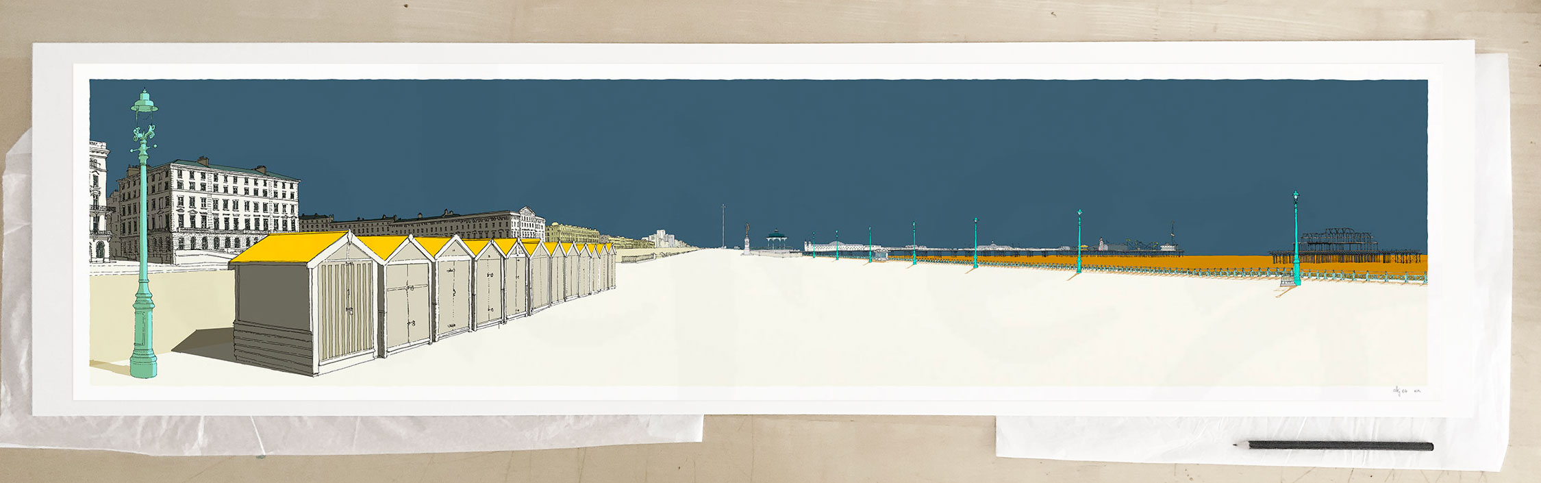 Fine art print by UK artist alej ez titled Palmeira Brunswick and the Two Piers Antique Blue and Ochre